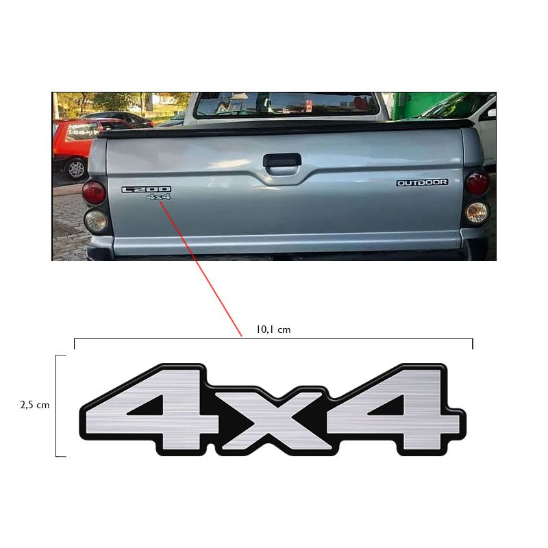 Adesivo 4x4 Mitsubishi L200 Sport Resinado Aço Escovado