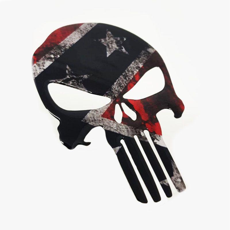 Adesivo Caveira Justiceiro Bandeira Confederados Envelhecida