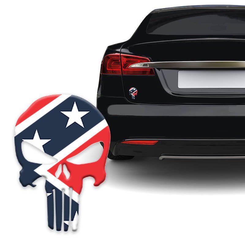Adesivo Caveira O Justiceiro Bandeira Confederados Carro Moto
