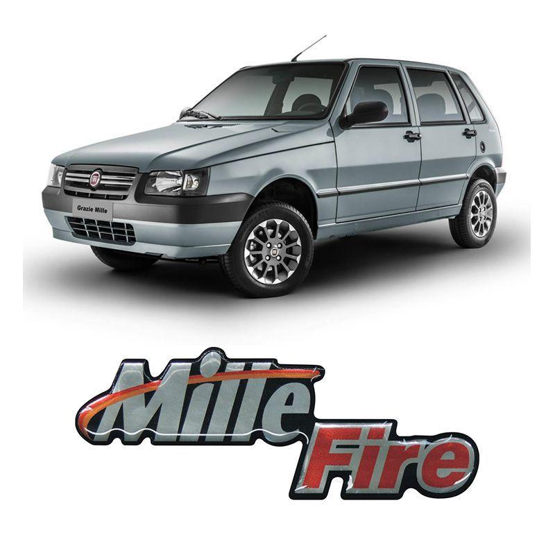 Adesivo Emblema Mille Fire Uno Mille Fire Cromado Resinado