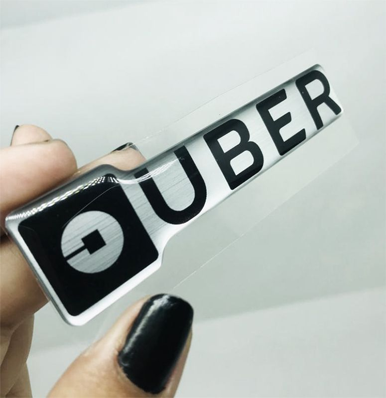 Adesivo Emblema Uber Resinado Auto Colante