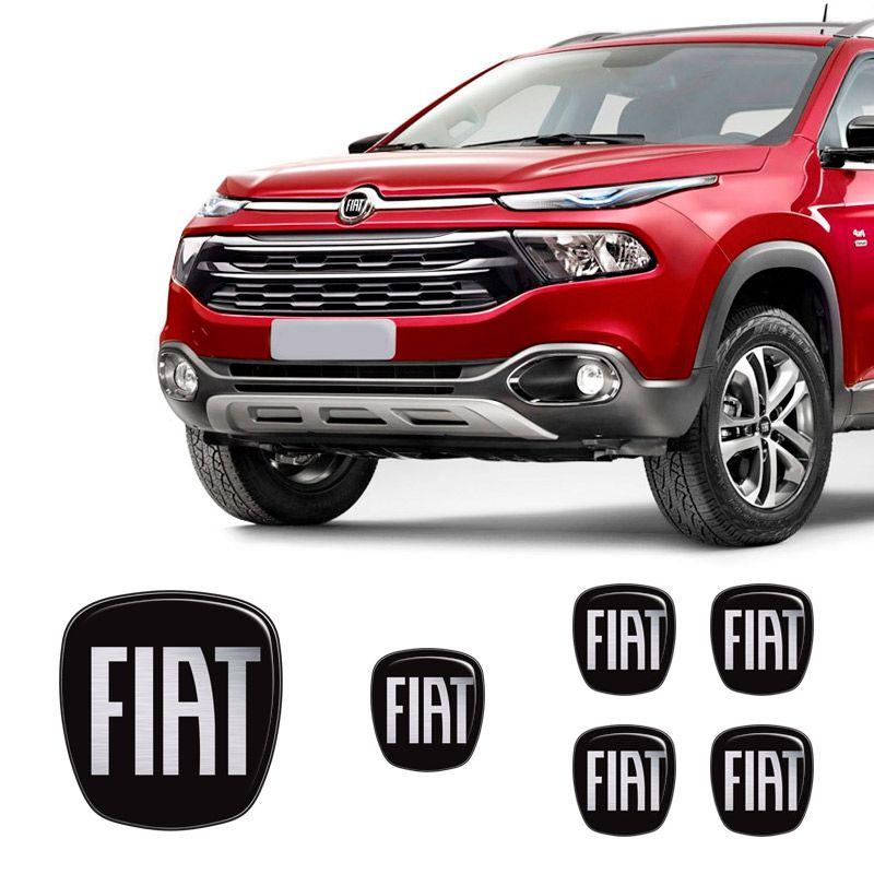 Adesivo Emblemas Fiat Toro Black Diant Volante Roda Resinado