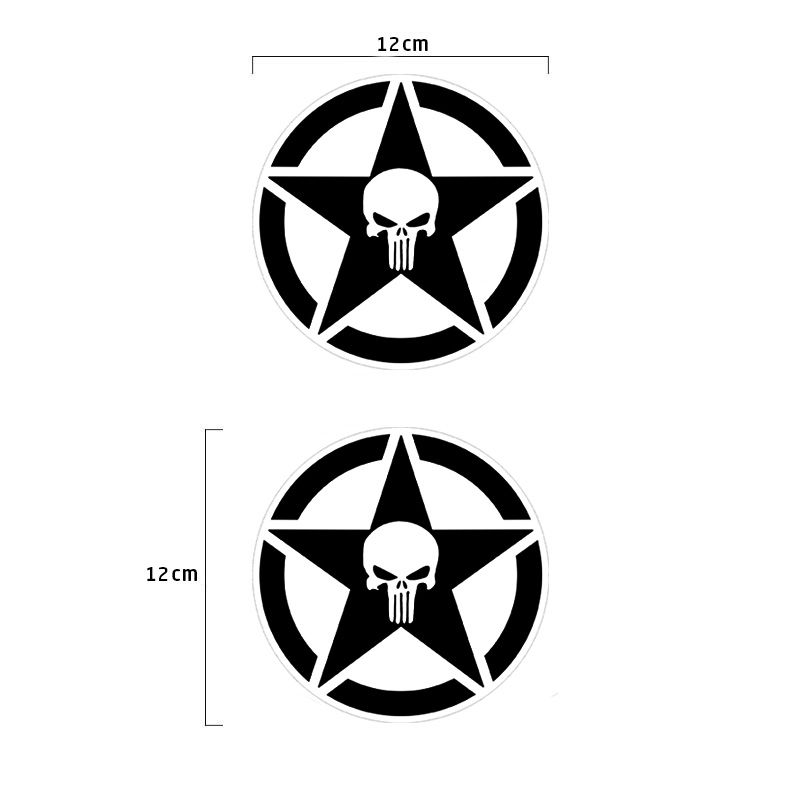 Adesivo Estrela Militar Caveira Universal Kit Preto