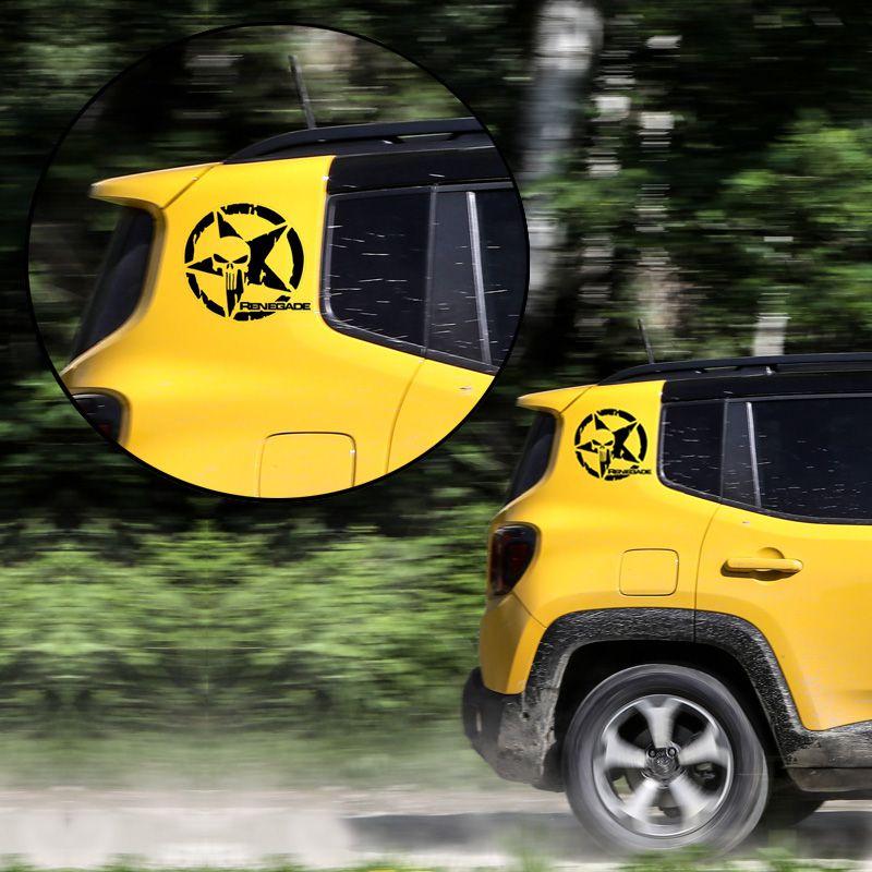 Adesivo Jeep Renegade Caveira O Justiceiro Estrela Preto