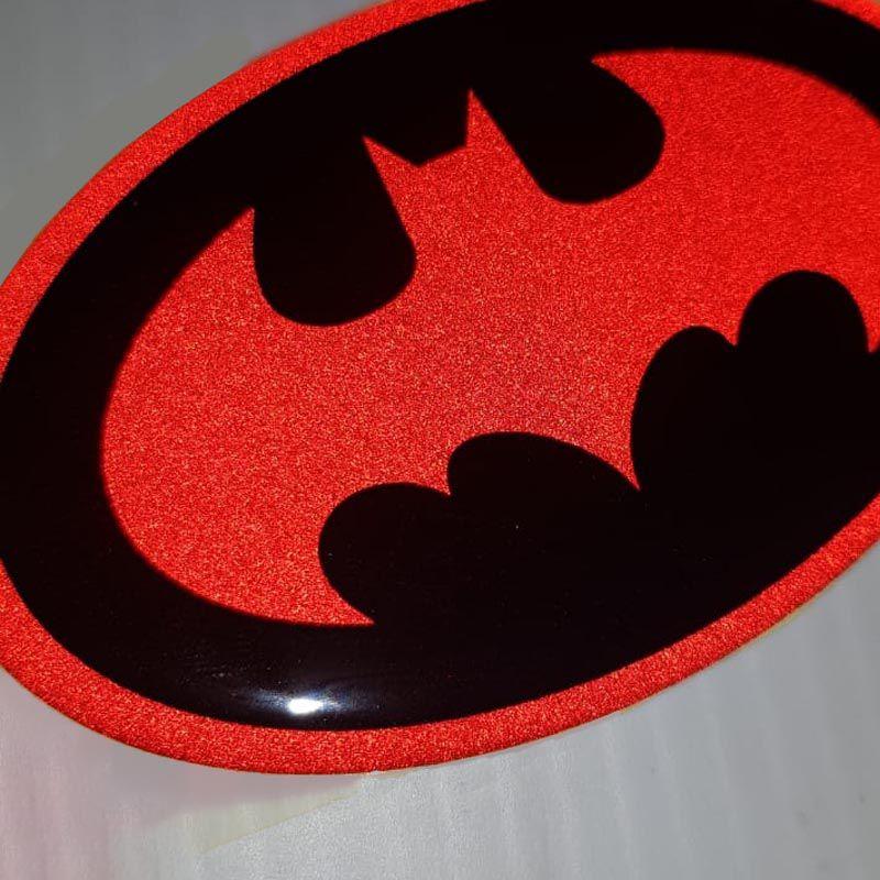 Adesivo Logo Morcego Vermelho Refletivo Resinado Decorativo
