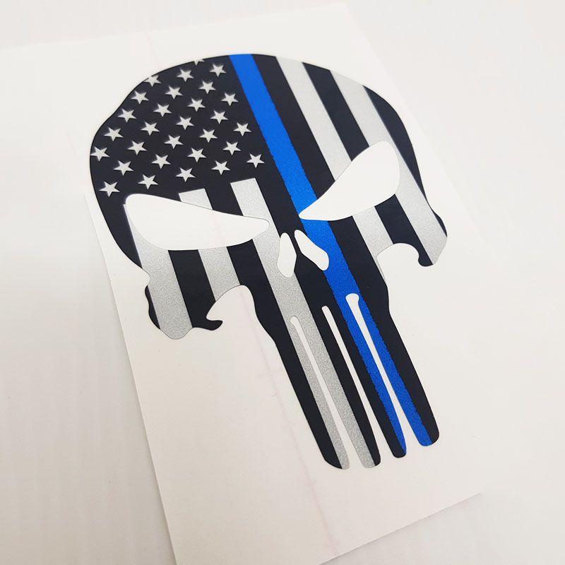 Adesivo Refletivo Caveira O Justiceiro Estados Unidos Blue