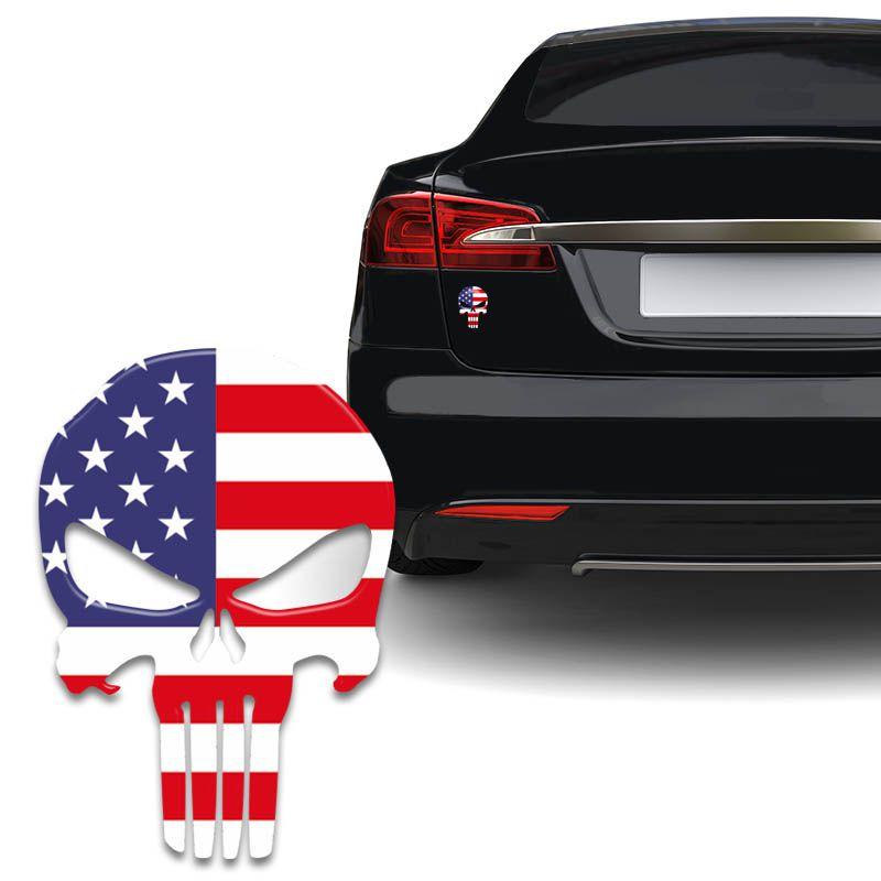 Adesivo Resinado Caveira O Justiceiro Bandeira EUA Carro
