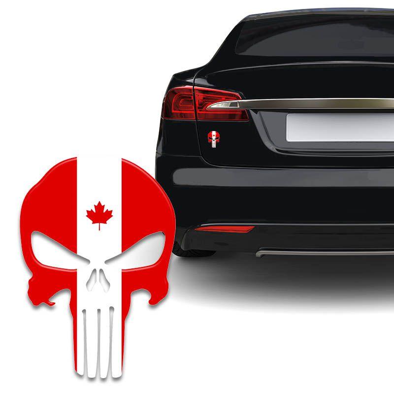 Adesivo Resinado Caveira O Justiceiro Canadá Carro Moto