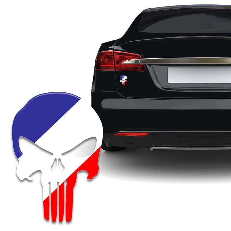 Adesivo Resinado Caveira O Justiceiro França Carro Moto