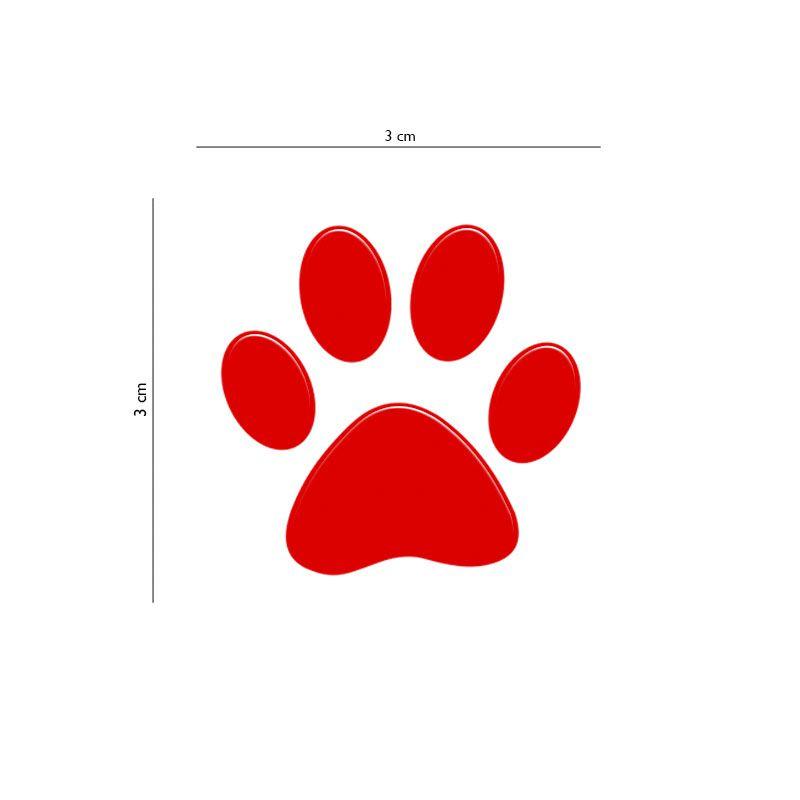 Adesivo Resinado Patinha Cachorro Pet Vermelho 12 Unidades