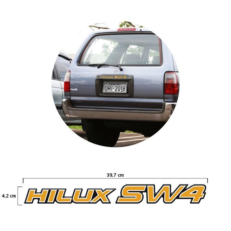 Adesivo Traseiro Hilux Sw4 2002 Emblema Dourado Resinado