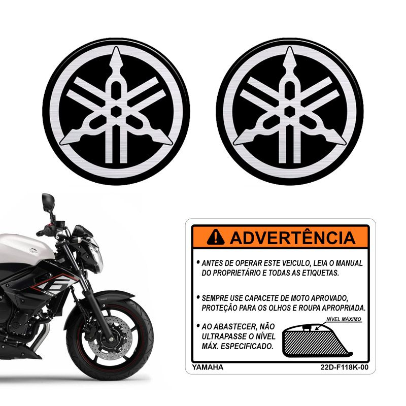 Adesivo Yamaha Xj6 Etiqueta Tanque + Emblemas 50mm Resinados