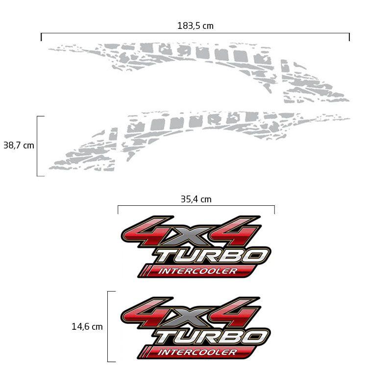 Adesivos Hilux 2009/2012 4x4 Turbo Intercooler + Faixa Prata