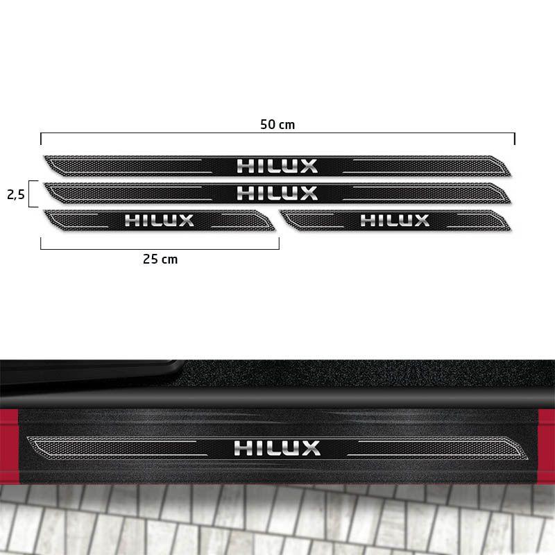 Adesivos Hilux 4x4 Turbo Faixa Grafite + Soleira Protetora