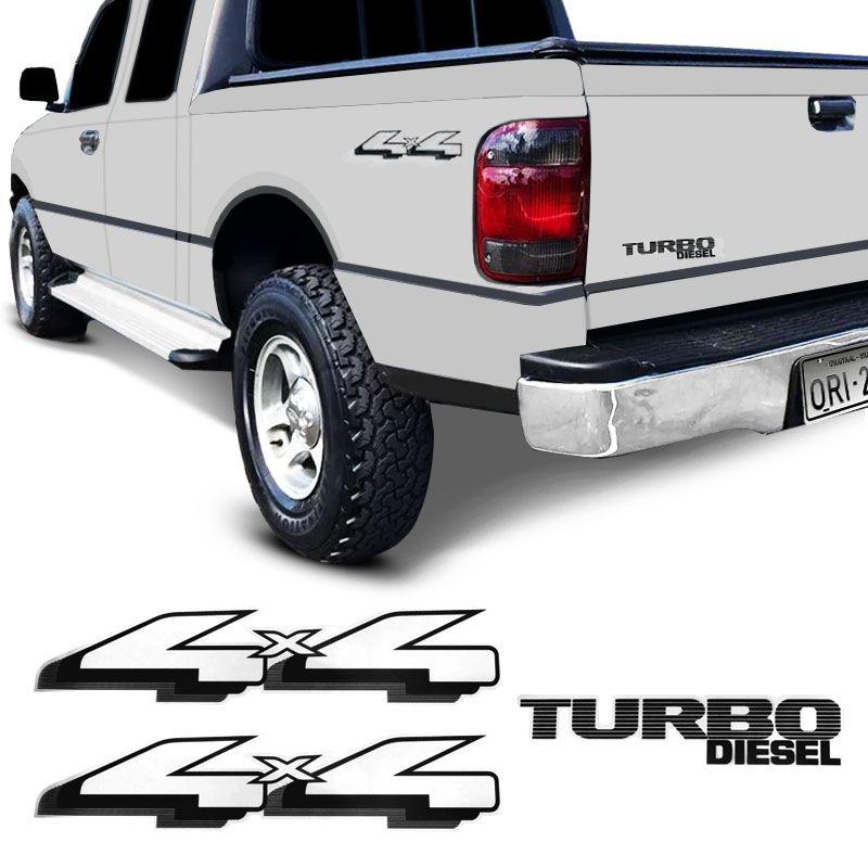 Adesivos Ranger 1998/2004 4x4 Turbo Diesel Emblema Preto