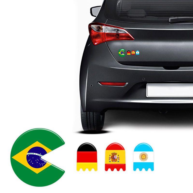 Adesivos Resinados Pac Man Bandeiras Carro C/ 4 Unid
