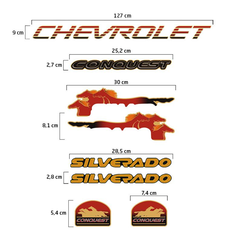 Adesivos Silverado Conquest 1999/2000 Kit Faixas Chevrolet