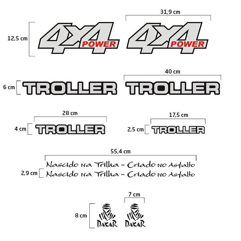 Adesivos Troller 2001/04 4x4 Power Refletivo Resinado Preto
