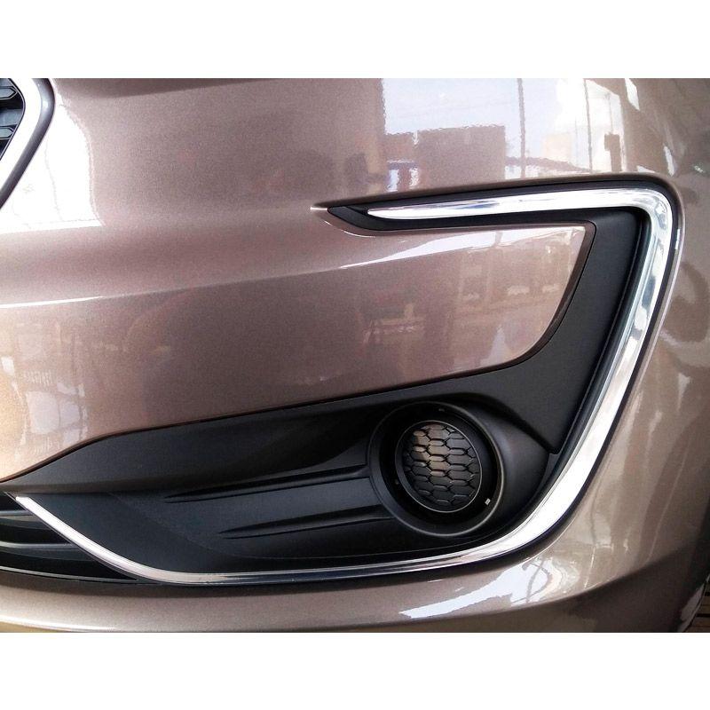 Aplique Ford Ka 2019 Adesivo Moldura Farol De Milha Cromado
