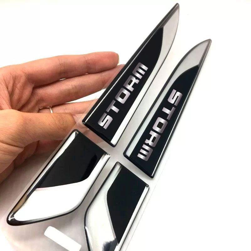Aplique Lateral Ecosport Storm Emblema Cromado Resinado Par