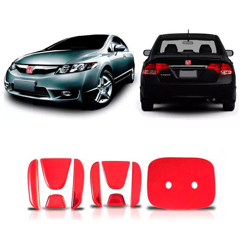 Aplique Vermelho Emblema New Civic Traseiro E Frontal 06/11