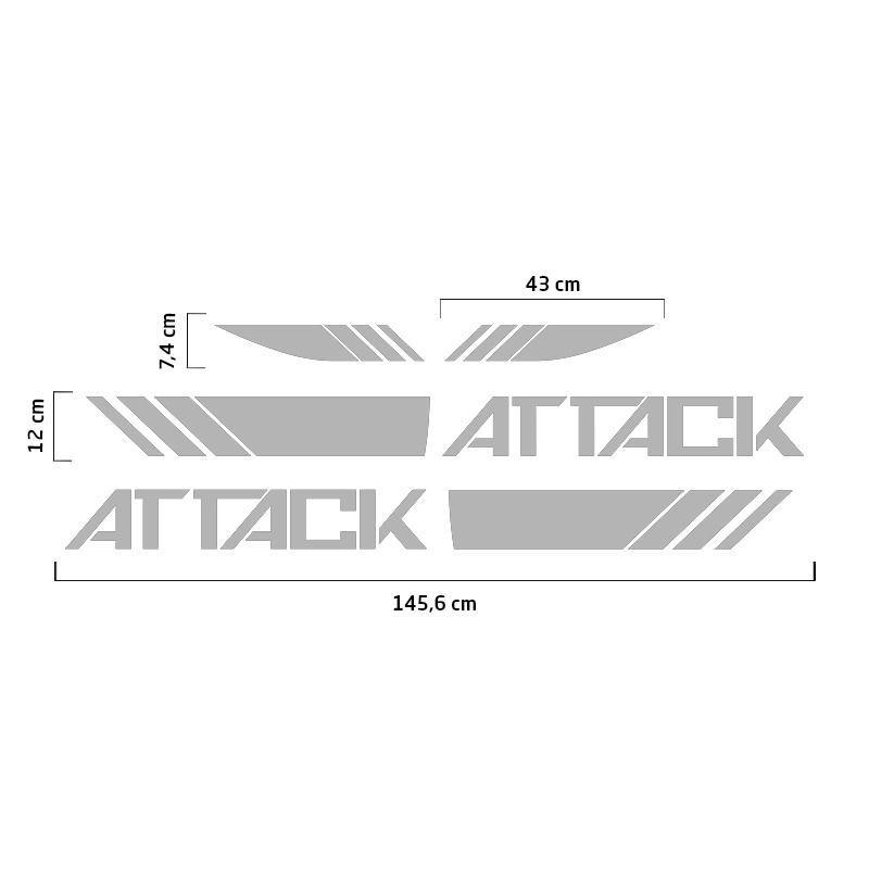 Faixa Attack Frontier 2017/2019 Adesivo Lateral Capô Prata