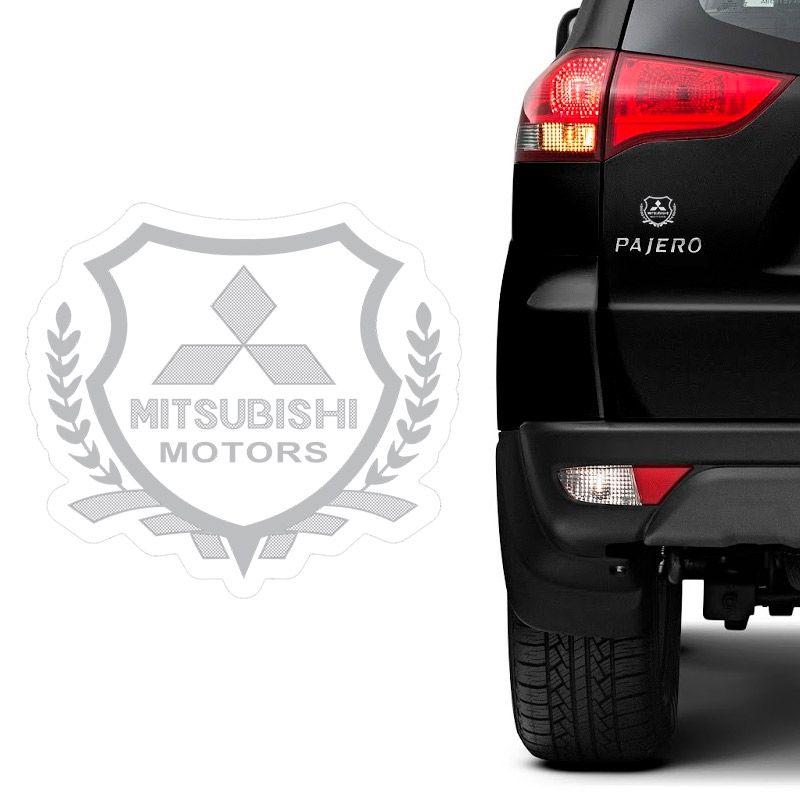 Emblema Brasão Mitsubishi Pajero L200 Lancer Dakar Prata