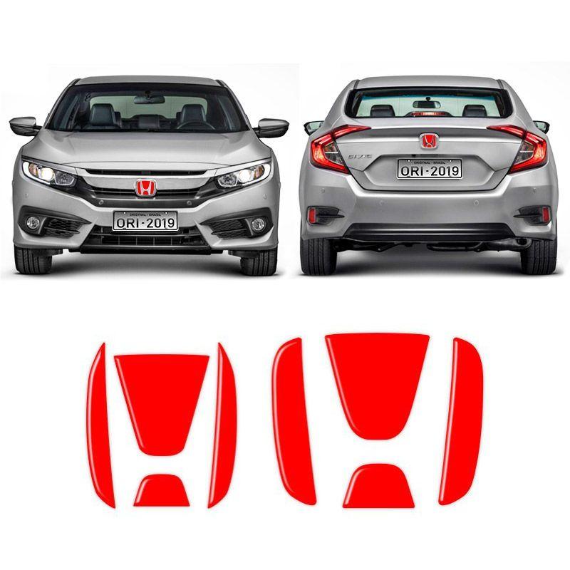 Emblema Civic G10 2017/2019 Aplique Vermelho Traseiro E Frontal