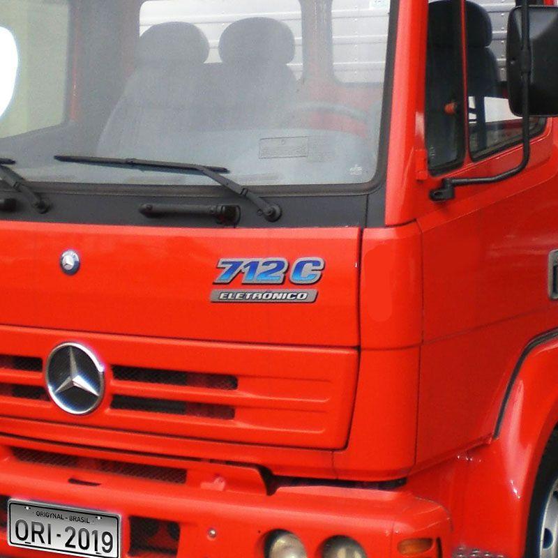 Emblema Do Capô 712C Eletrônico Mercedes Adesivo Caminhão