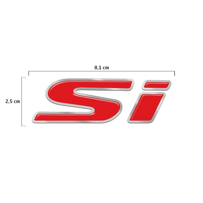 Emblema Si Honda New Civic Adesivo Traseiro Resinado