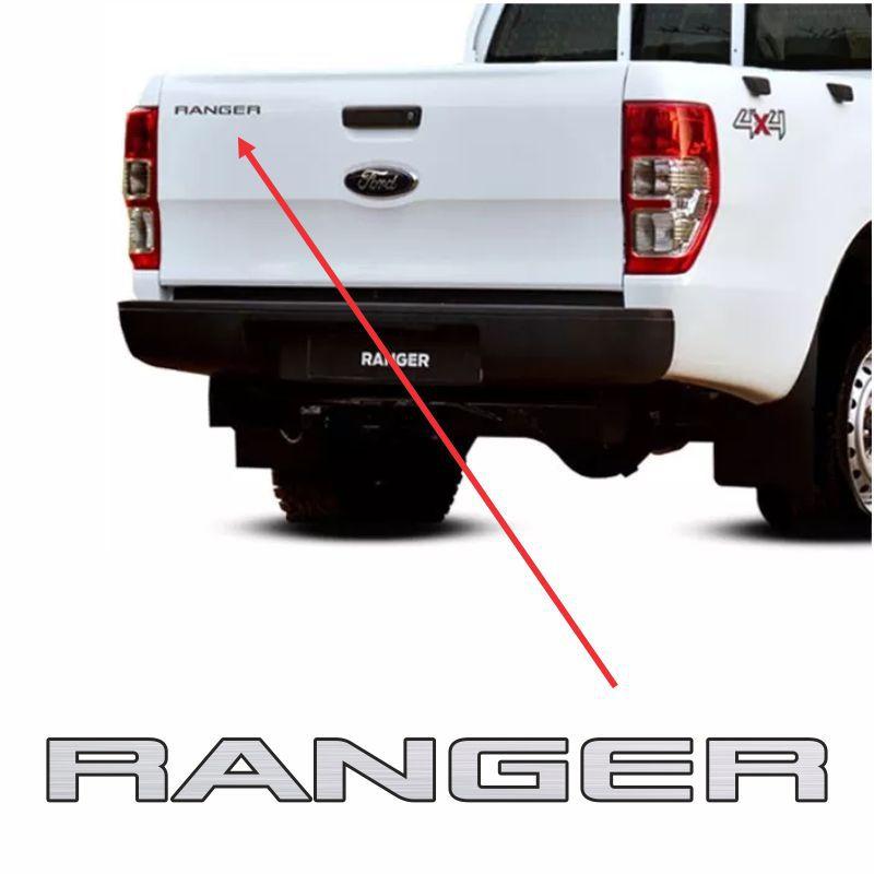 Emblema Ranger 2013/2016 Tampa Traseira Adesivo Prata