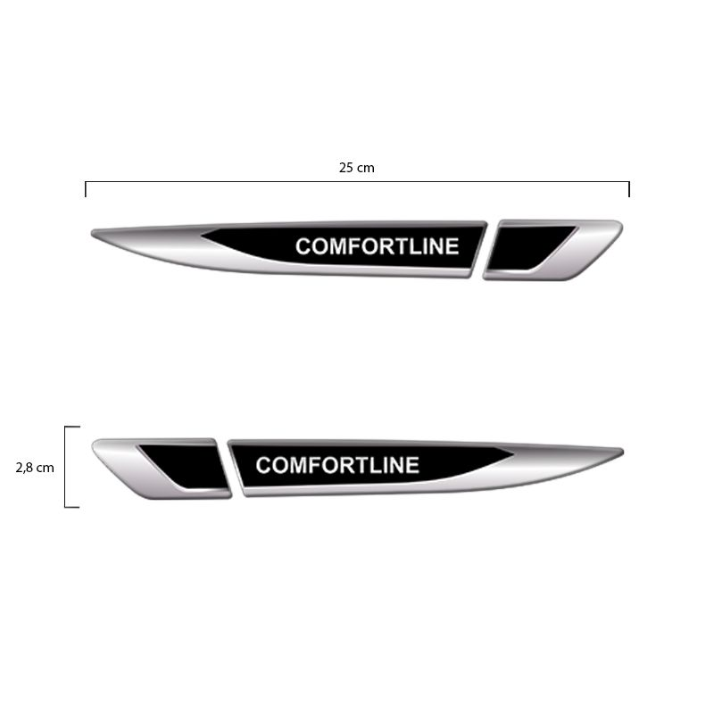 Emblema Resinado Aplique Lateral Comfortline Inclinado Par