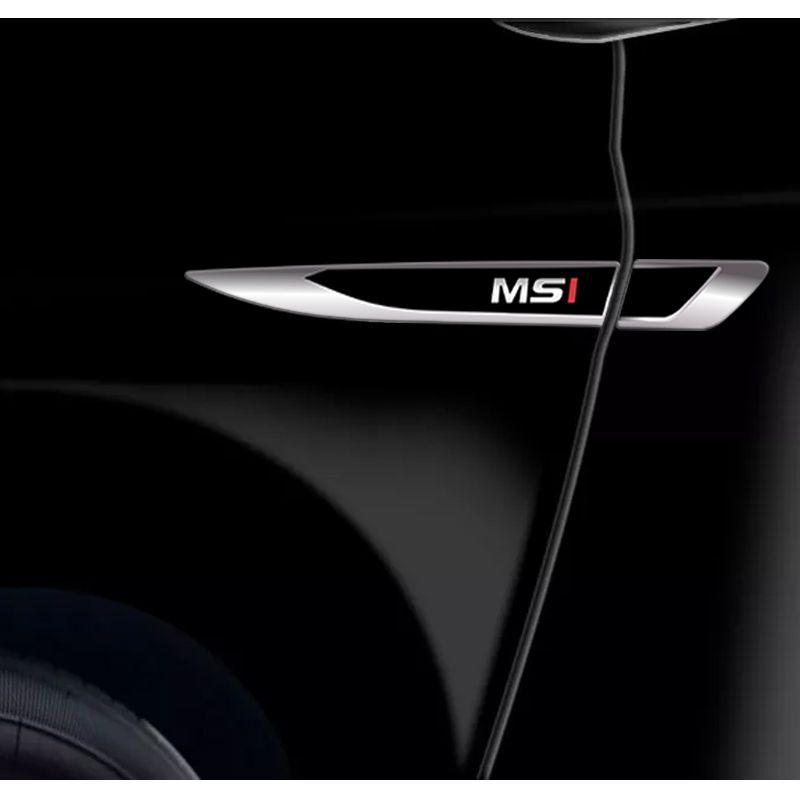 Emblema Resinado Aplique Lateral MSI Reto Decorativo Par