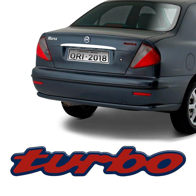Emblema Traseiro Turbo Fiat Marea Vermelho Resinado