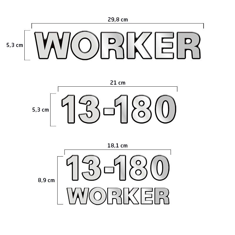 Emblemas 13-180 Worker Adesivo Volkswagen Caminhão Cromado