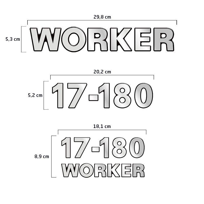 Emblemas 17-180 Worker Adesivo Volkswagen Caminhão Cromado