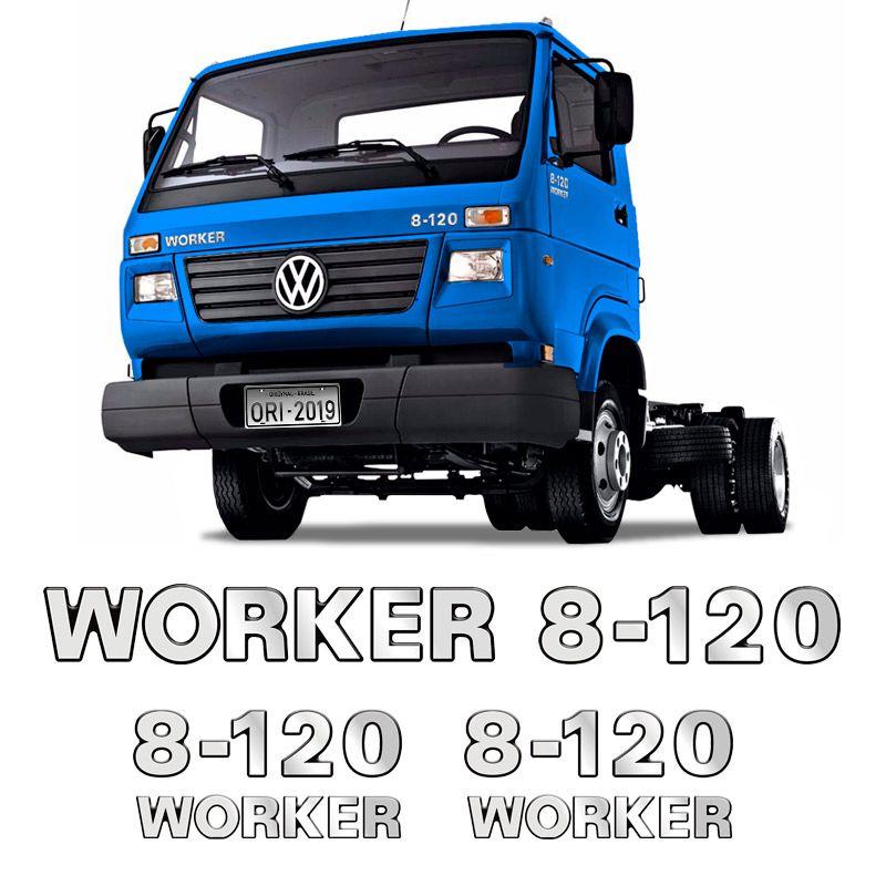 Emblemas 8-120 Worker Adesivo Volkswagen Caminhão Cromado