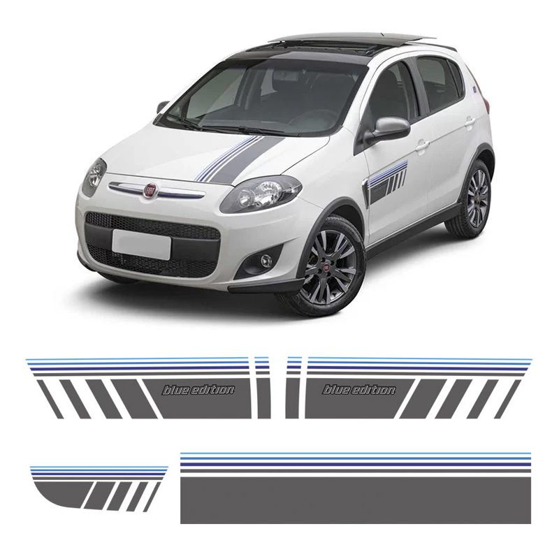 Faixa Blue Edition Fiat Palio Sporting  2015 Adesivo Grafite