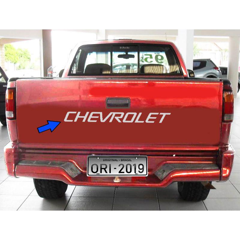 Faixa Chevrolet S10 1995/2000 Tampa Traseira Adesivo Prata