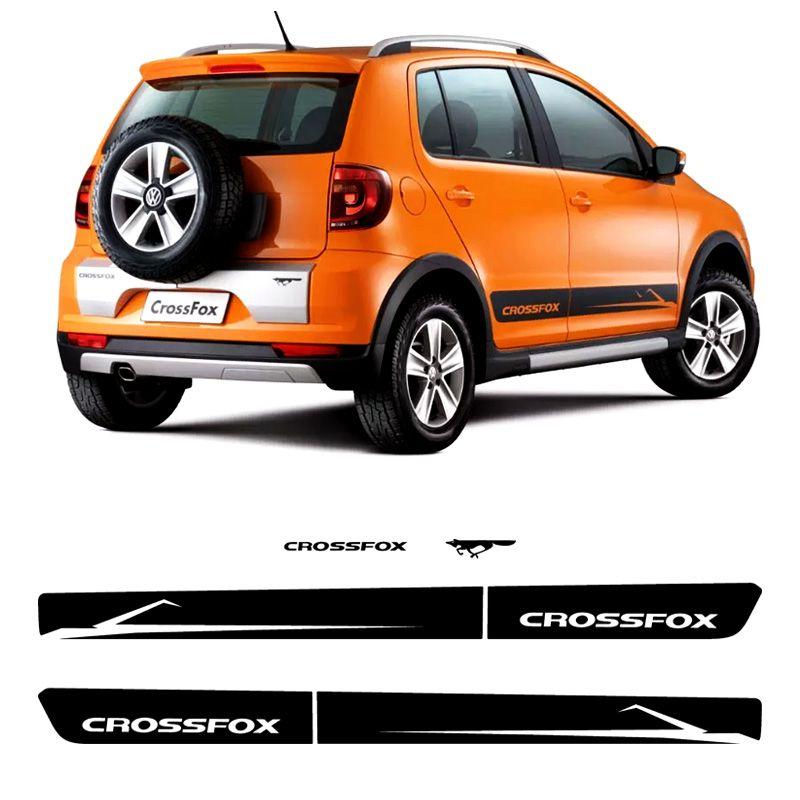 Faixa Crossfox 2010 2011 Adesivos Lateral E Traseiro Preto