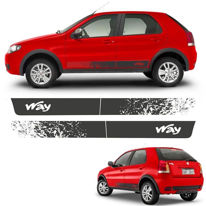 Faixa Lateral Fiat Palio Way 2014, 2015 e 2016 Adesivo Grafite
