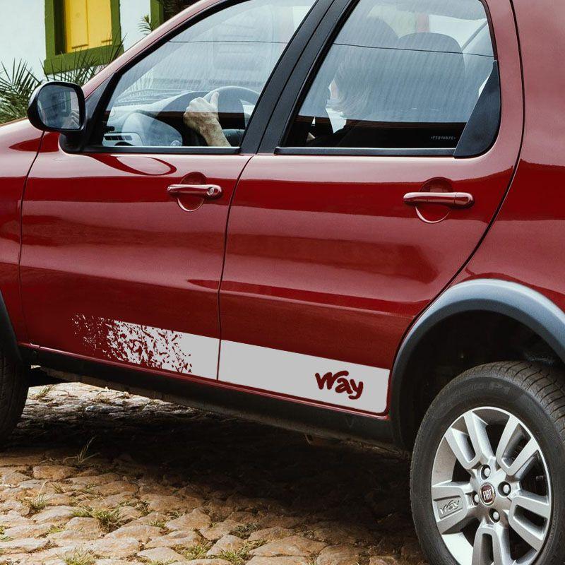 Faixa Lateral Fiat Palio Way 2014/2019 Adesivo Prata Decorado