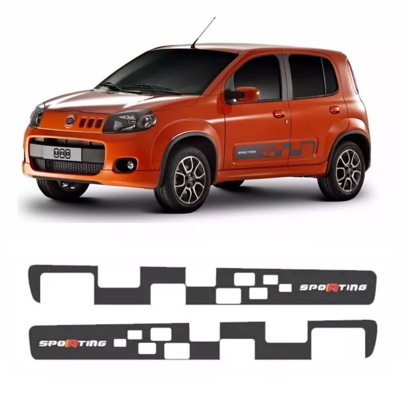 Faixa Lateral Fiat Uno Sporting Adesivo Grafite Decorativo