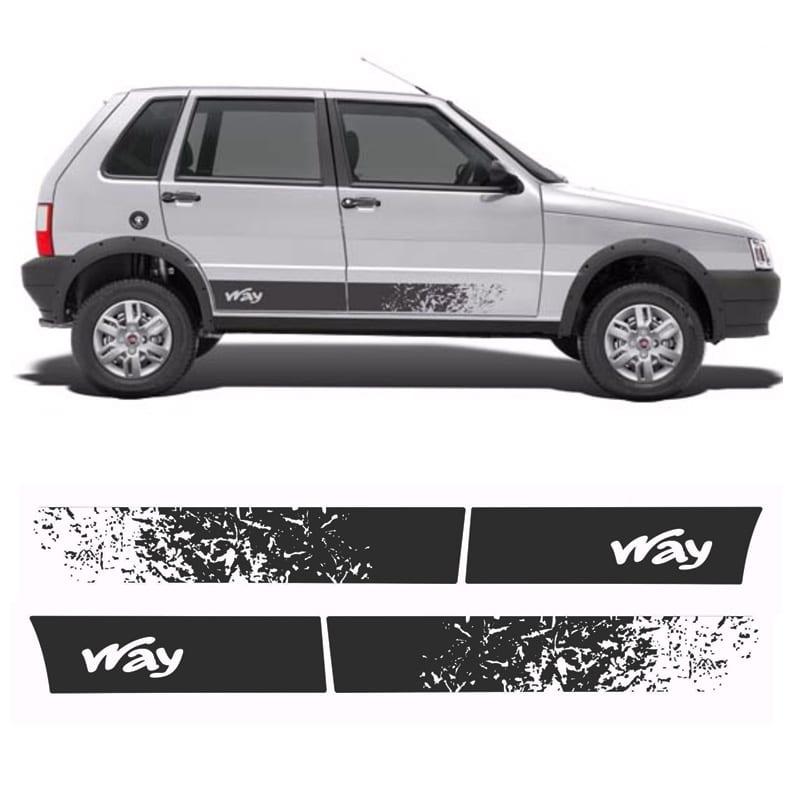 Faixa Lateral Fiat Uno Way 2016/ 4 Portas Adesivo Preto