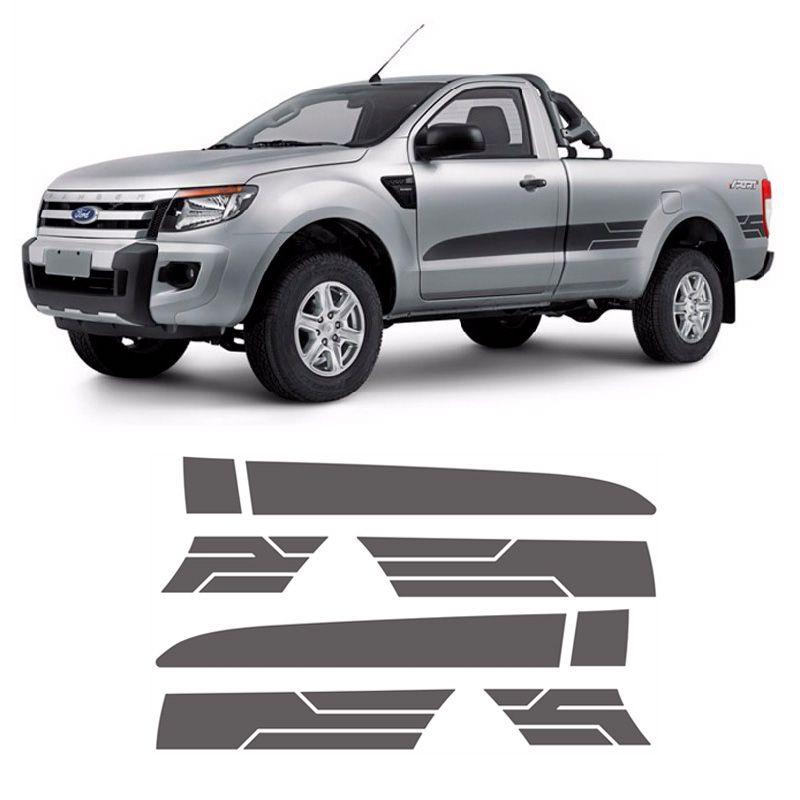 Faixa Lateral Ranger Cs Sport Xls 2014/2016 2P Adesivo Grafite