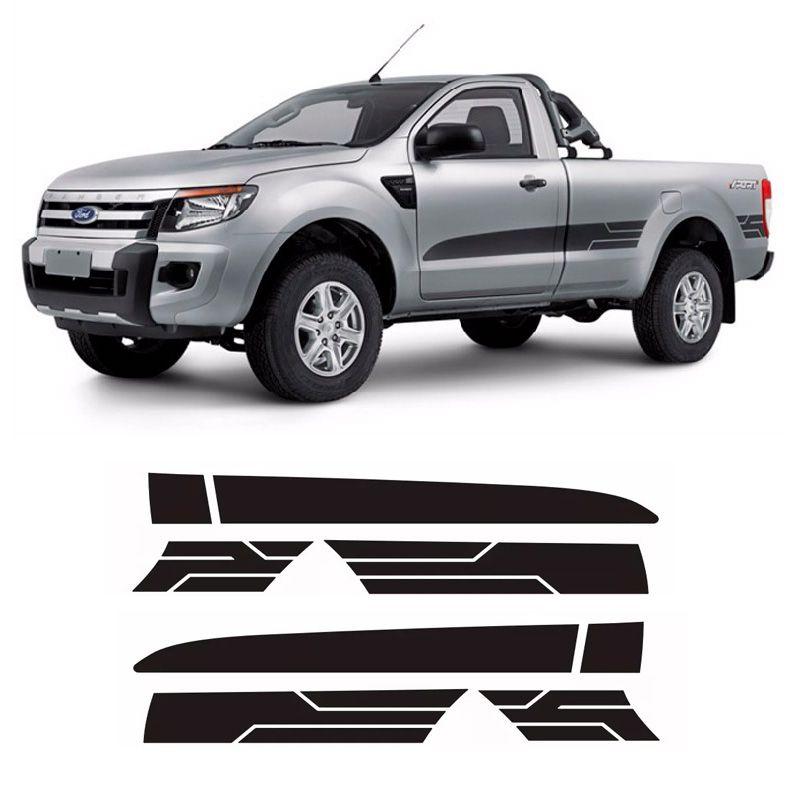 Faixa Lateral Ranger Cs Sport Xls 2014/2016 2P Adesivo Preto