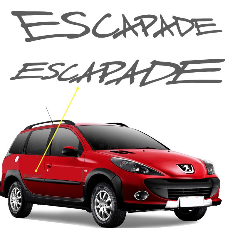 Adesivo Escapade Peugeot 206 SW Emblema Lateral Grafite