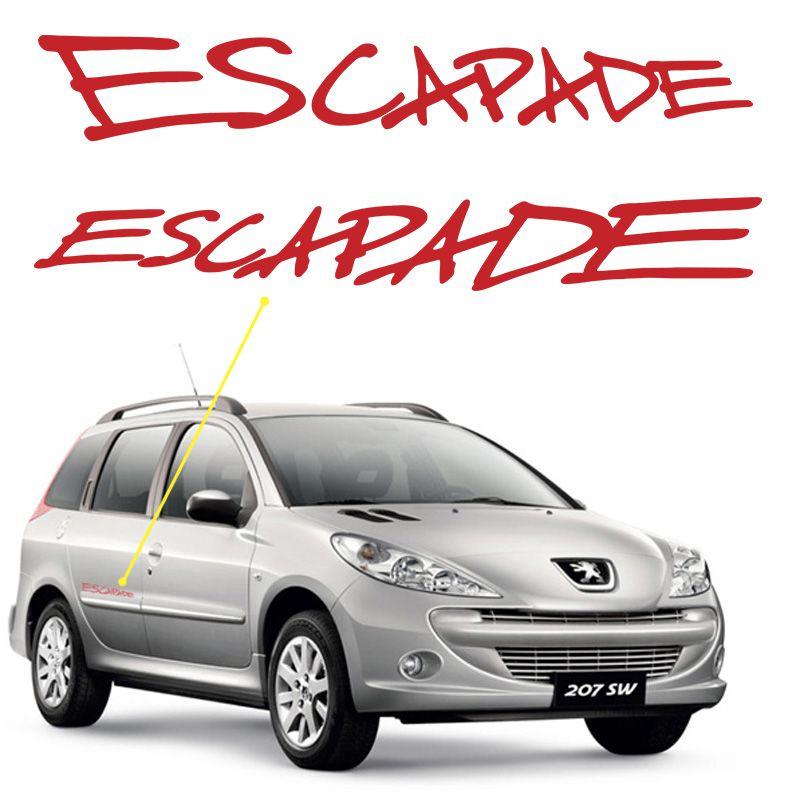 Adesivo Escapade Peugeot 206 SW Emblema Lateral Vermelho