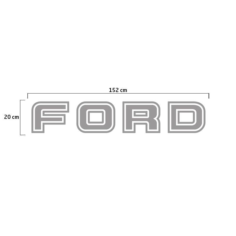 Faixa Traseira Ford F-250 Adesivo Prata + Soleira Protetora