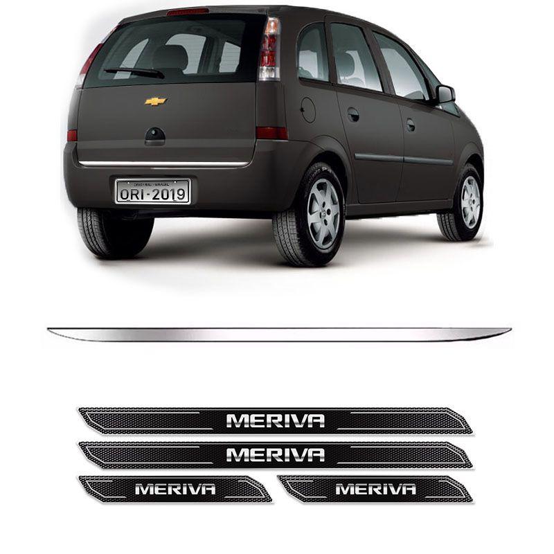 Friso Porta-Malas Chevrolet Meriva + Kit Soleira Protetora